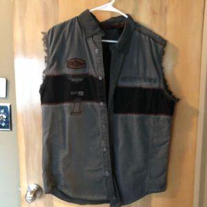 Harley-Davidson Gray Cut Off Button Shirt Sz L